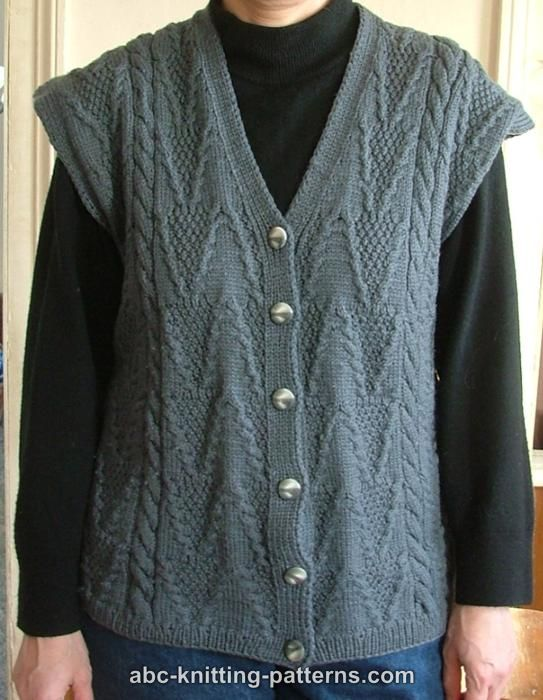 Abc Knitting Patterns Grey Vest With Cables