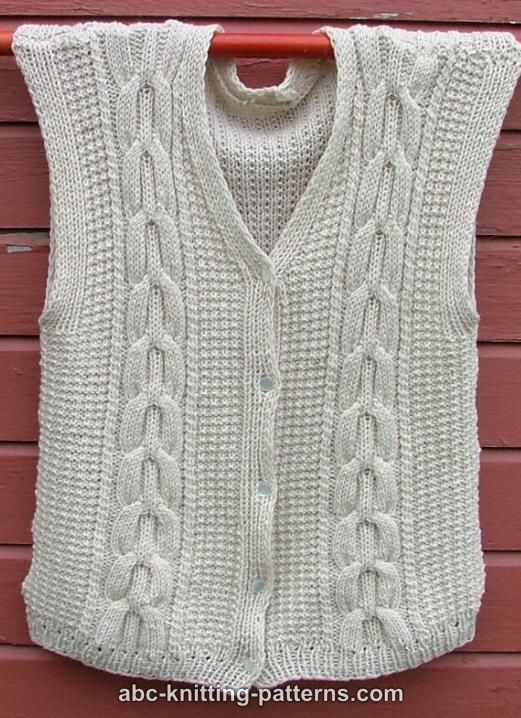 Vest Knitting Pattern Free Easy : Abc knitting patterns white vest with cables