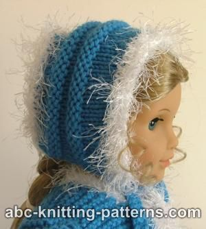 Faux Fur Trimmed Hat for American Girl Doll
