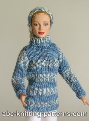 Fair Isle Sweater and Headband for Fashion 16 inch Dolls by Robert Tonner