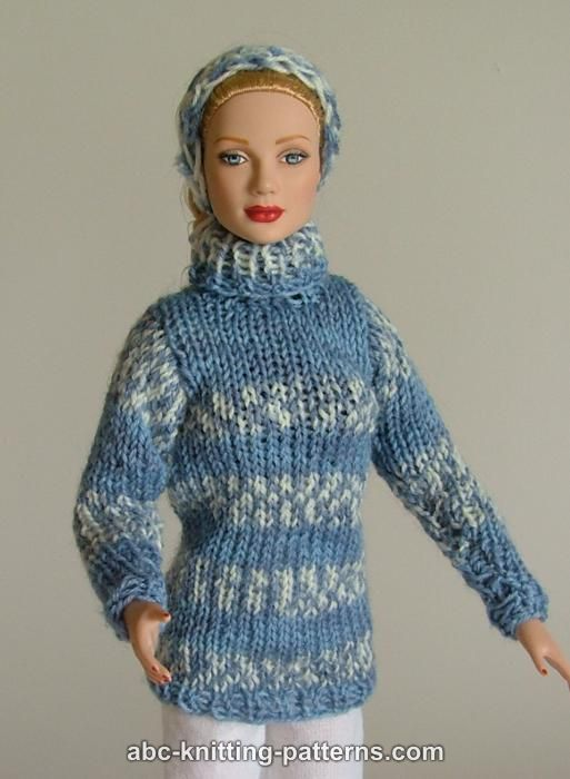 Knitting Patterns For 16 Inch Dolls : ABC Knitting Patterns - Fair Isle Sweater and Headband for ...