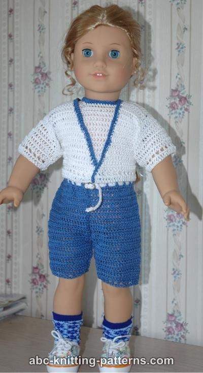 Free American Girl Doll Knitting Patterns : ABC Knitting Patterns - American Girl Doll Summer Cardigan