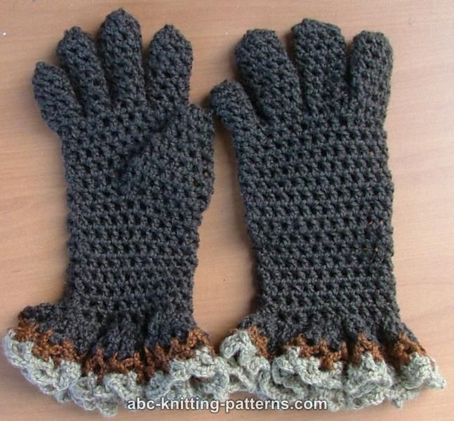 ABC Knitting Patterns - Gloves with Ruffle