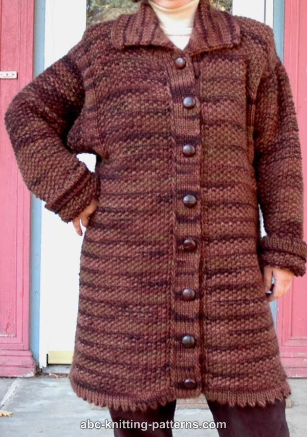 ABC Knitting Patterns - Moss Stitch Coat