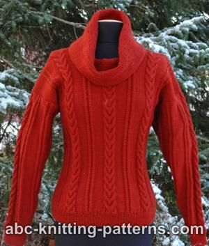 Cowl Neck Sweater with Cables