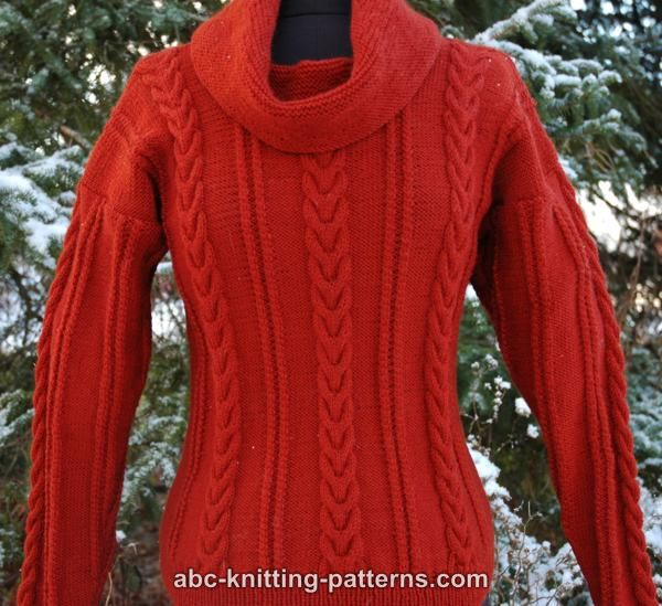 ABC Knitting Patterns - Cowl Neck Sweater with Cables