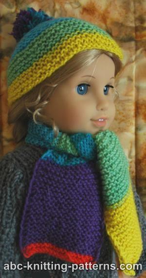 Abc Knitting Patterns American Girl Doll Garter Stitch Scarf