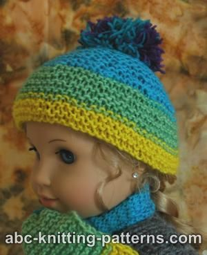 Free Knitting Pattern For Doll Hat : ABC Knitting Patterns - American Girl Doll Garter Stitch Hat with Pompon