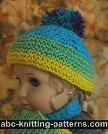 American Girl Doll Garter Stitch Hat with Pompon