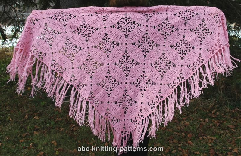 ABC Knitting Patterns - Pink Square Motif Shawl