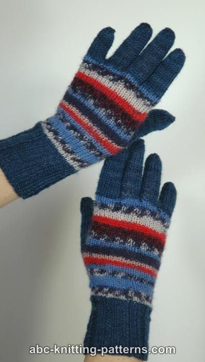 ABC Knitting Patterns - Fair Isle Gloves