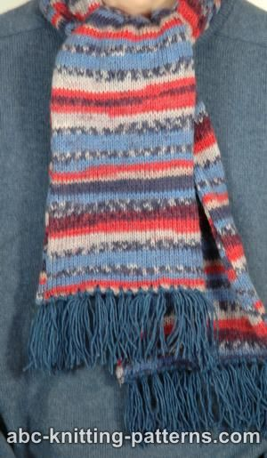 Simple Knitted Hat Pattern Free : ABC Knitting Patterns - Fair Isle Scarf