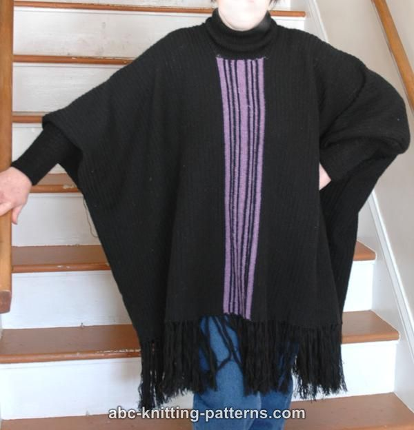 Knitting Pattern For Cape With Sleeves : ABC Knitting Patterns - Poncho with Sleeves
