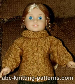 American Girl Doll Cable Aran Sweater
