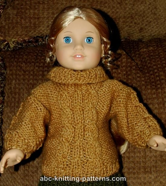 Abc Knitting Patterns American Girl Doll Cable Aran Sweater