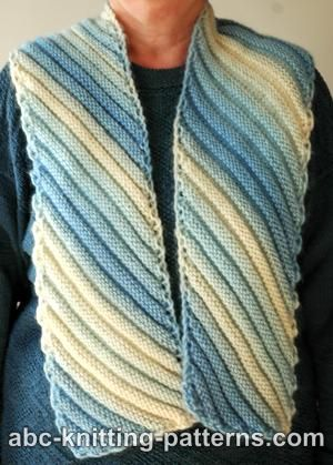 Diagonal Knit Scarf Pattern : ABC Knitting Patterns - Diagonal Scarf