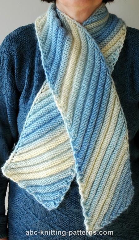Aikarin's Knitting - Short Row Scarf with Patons SWS Soy Wool Stripes