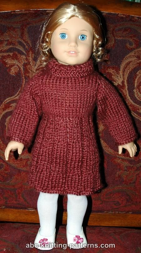 Knitting Patterns For American Doll Clothes : ABC Knitting Patterns - American Girl Doll Dress