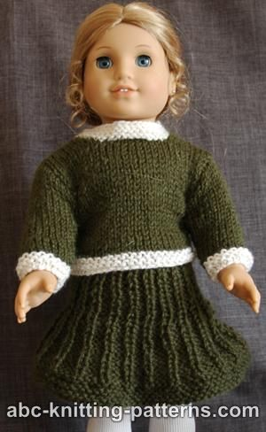 Knitting Patterns - American Girl Doll Classic Suit (Sweater and Skirt