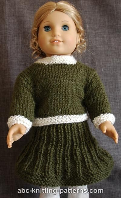 Knitting Pattern For Dolls Skirt : ABC Knitting Patterns - American Girl Doll Classic Suit ...