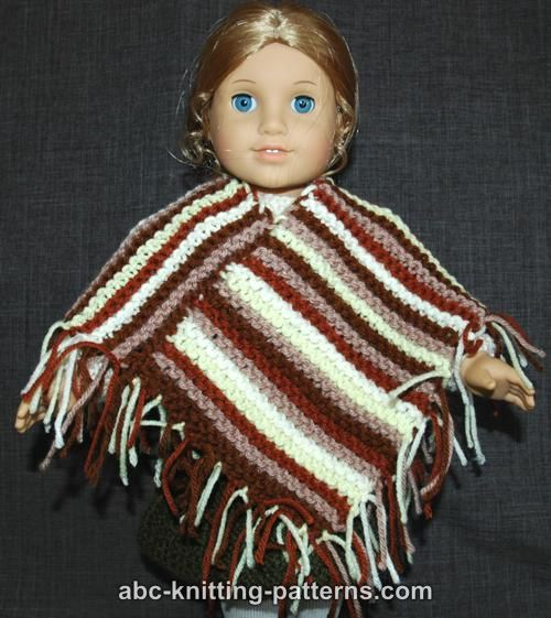 ABC Knitting Patterns - American Girl Doll Easy Garter Stitch Poncho ...