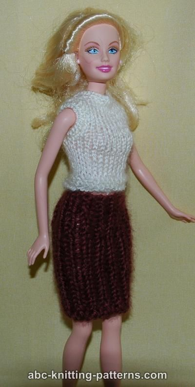 Free Barbie Knitting Patterns : ABC Knitting Patterns - Barbie Sleeveless Top