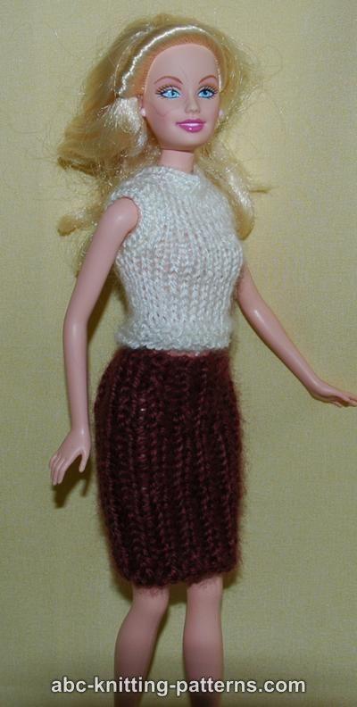 Abc Knitting Patterns Barbie Sleeveless Top