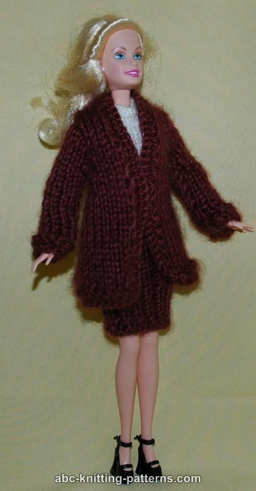 Barbie Knitting Patterns : ABC Knitting Patterns - Barbie Elegant 2-Piece Suit (Long Coat and Skirt)