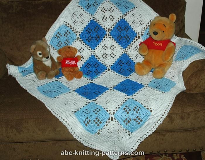 Crochet Pattern For Abc Baby Blanket : Easy Squares Knit Baby Blanket Knitting Pattern Red Heart ...