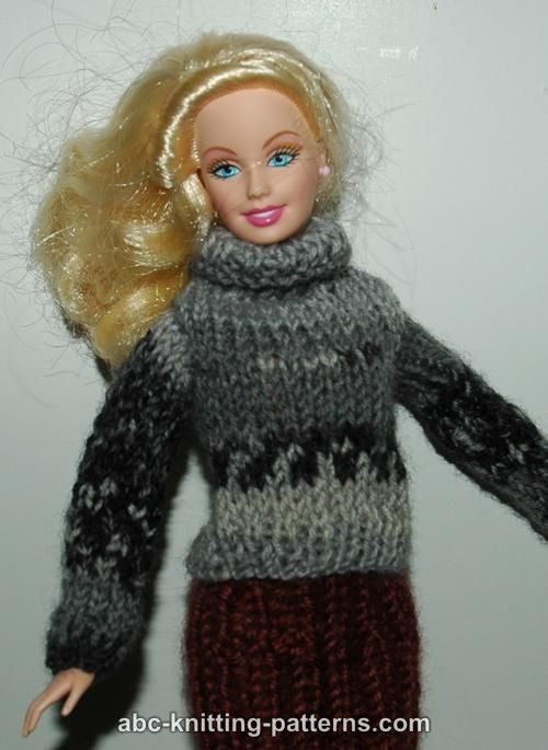 Free Barbie Knitting Patterns : ABC Knitting Patterns - Barbie Turtleneck Sweater