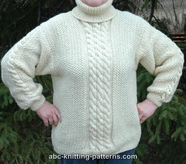 f81ca3b130dbdf ABC Knitting Patterns - Aran Sweater with Turtleneck Collar