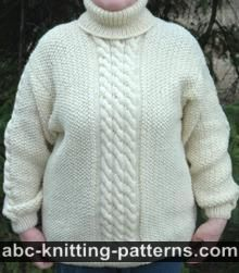 Aran Sweater with Turtleneck Collar
