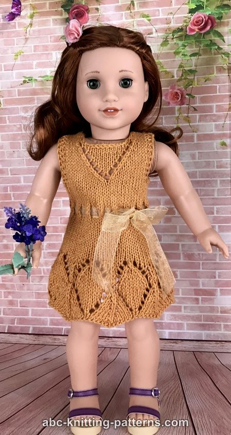 Knitting Patterns For American Doll Clothes : ABC Knitting Patterns - American Girl Doll Summer Lace Dress