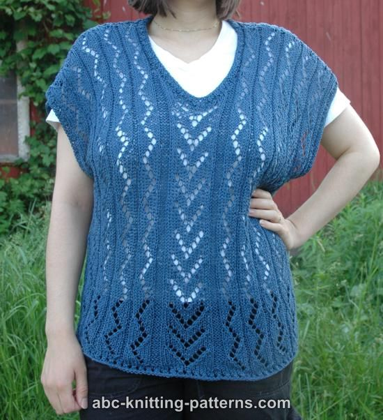 V Neck Knitting Pattern : ABC Knitting Patterns - V-Neck Summer Lace Top