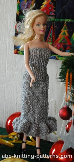 Free Barbie Knitting Patterns : ABC Knitting Patterns - Barbie Doll Evening Dress