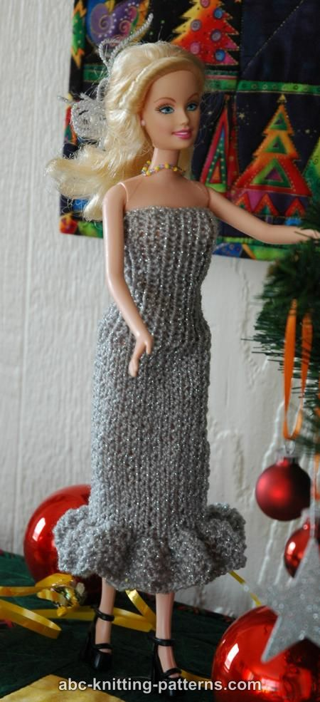 Abc Knitting Patterns Barbie Doll Evening Dress