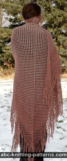 Gradient Color Shawl with Crochet Fringe