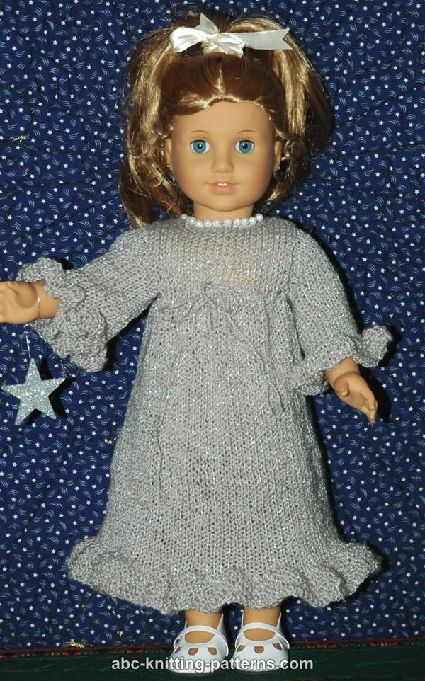Knitting Patterns For American Doll Clothes : ABC Knitting Patterns - American Girl Doll Evening Dress