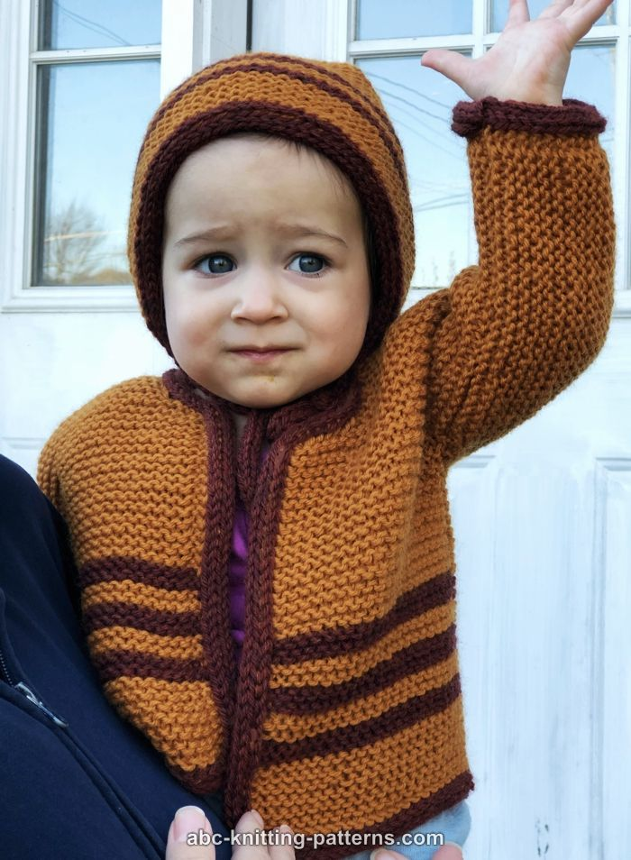 Quick Baby Cardigan Knitting Pattern : ABC Knitting Patterns - Easy Garter Stitch Baby Cardigan