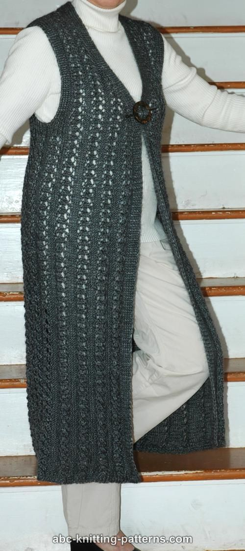 Vest Knitting Pattern Free : ABC Knitting Patterns - Long Lace Vest