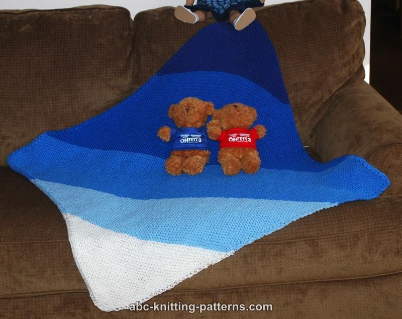 ABC Knitting Patterns - Easy Diagonal Garter Stitch Baby Blanket