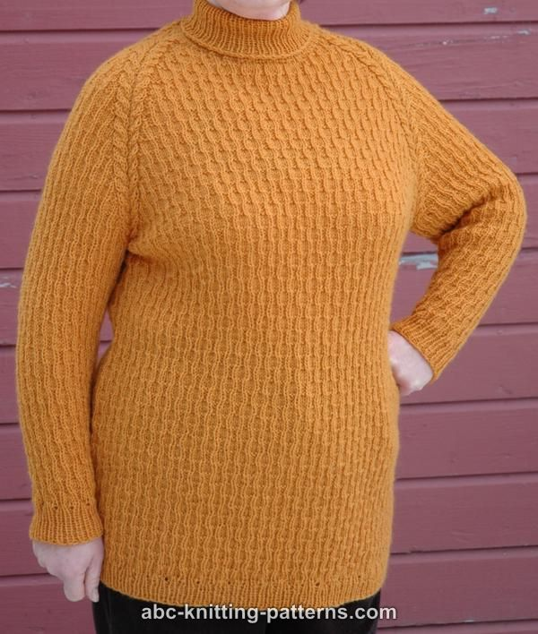 Free Raglan Sweater Knitting Pattern : ABC Knitting Patterns - Raglan Sleeve Sweater with Turtleneck Collar