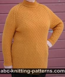 Raglan Sleeve Sweater with Turtleneck Collar
