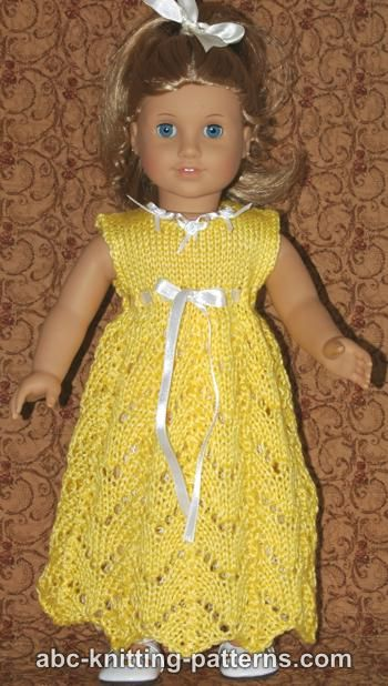 Abc Knitting Patterns American Girl Doll Empire Waist Lace Dress