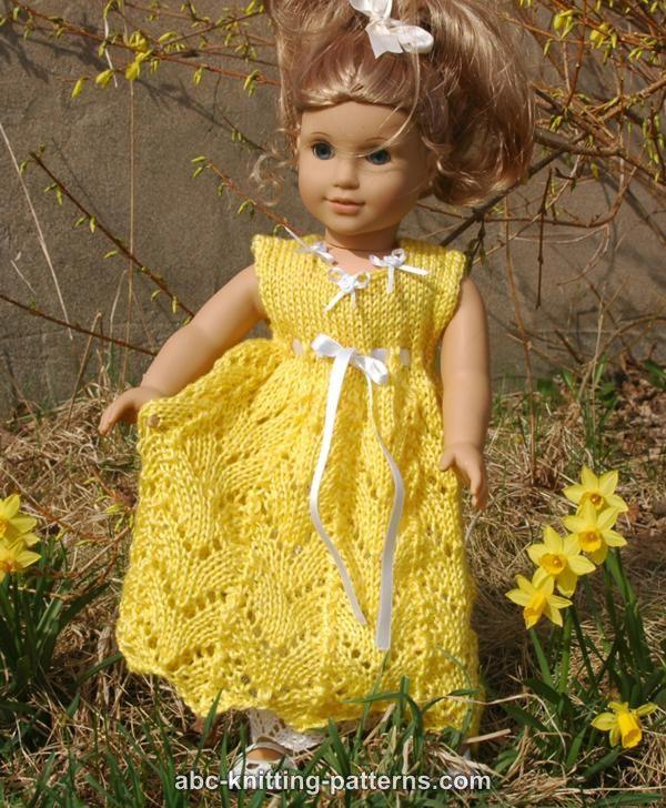 Abc Knitting Patterns American Girl Doll Empire Waist Lace Dress