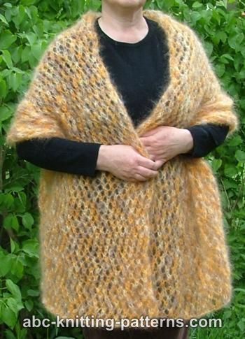Mohair Lace Knitting Pattern Free : ABC Knitting Patterns - Cozy Mohair Wrap
