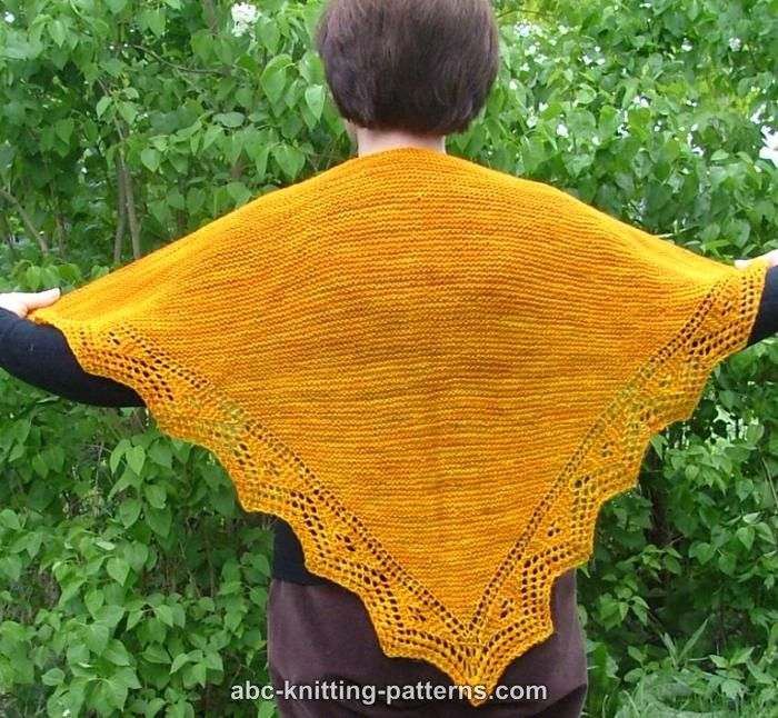 Free Knitting Patterns For Lace Borders : ABC Knitting Patterns - Trellis Border Garter Stitch Lace Shawl