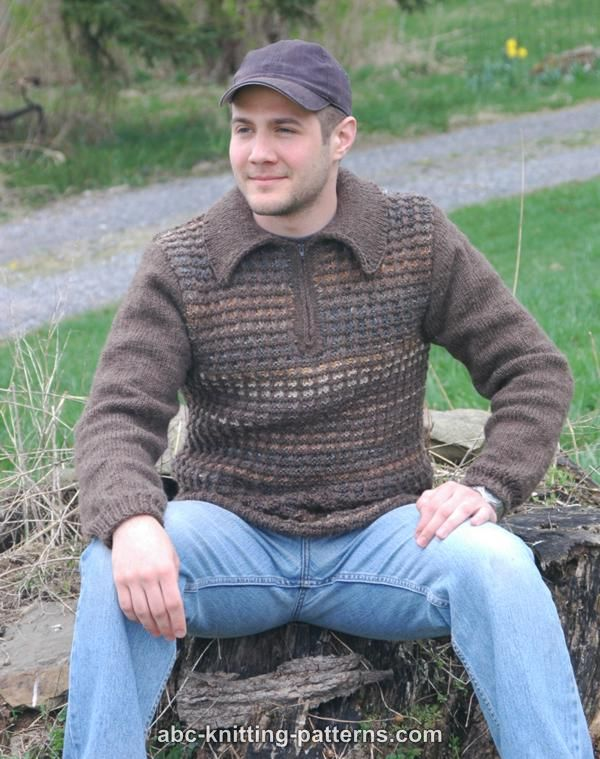 Free Knitting Pattern Zippered Cardigan : ABC Knitting Patterns - Noro Yarn Men Zipper Sweater