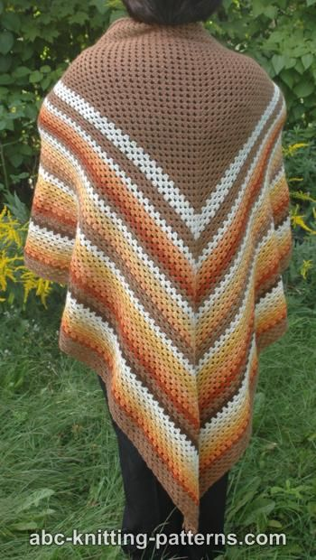 ABC Knitting Patterns - Autumnal Triangle Shawl