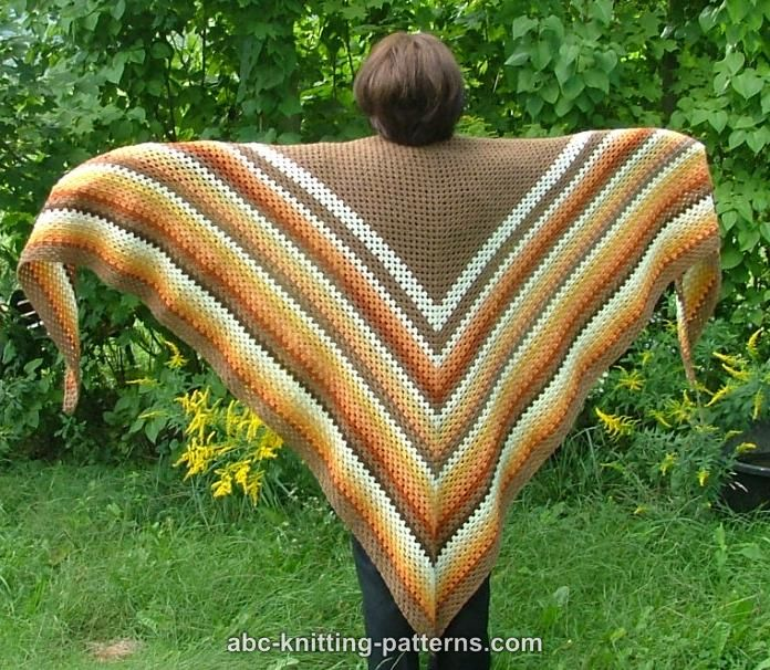 Simple Triangle Crochet Shawl Pattern : ABC Knitting Patterns - Autumnal Triangle Shawl